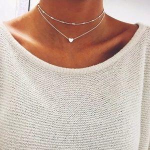 2 Necklace Set Choker Heart Pendant Silver